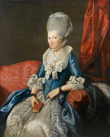 portrait of a lady three quarter length in a blue lace trimmed dress with a pearl headdress and a miniature on her wrist seated in a red chair before a red curtain by johann joseph zoffany