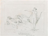 then sleep by death, two twins of winged race/of matchless swiftness but of silent pace,/receiv'd sarpedon, of the god's commands/and in a moment reach'd the ayrian land;.pope's il: b: 16: i: 831 (+ another, 2 works) by john flaxman