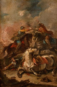 choc de cavaliers by georg philipp rugendas the elder