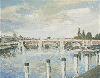 chertsey bridge by leslie wollaston