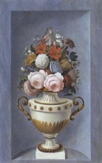 nature morte au vase de fleurs dans une niche by le riche (leriche)