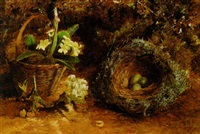 a basket of primulas, eggs in a nest and a sprig of apple blossom on a mossy bank by charles archer