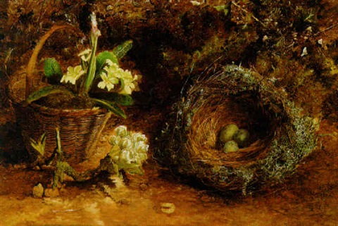 a basket of primulas eggs in a nest and a sprig of apple blossom on a mossy bank by charles archer