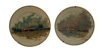 veduta di napoli con vesuvio sullo sfondo (+ marina con barche e vesuvio sullo sfondo; pair) by fulvio tessitore