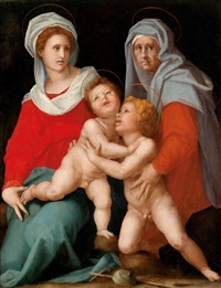 madonna mit kind, der heiligen elisabeth und dem johannesknaben (collaboration with workshop) by pontormo (jacopo carucci)