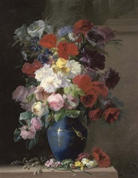 roses, poppies, daisies and other summer blooms in a vase by c. julliard