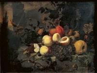 nature morte de fruits et fleurs sur un entablement de pierre by jan mortel