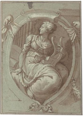 design for a decorative panel with an allegorical figure of music by giuseppe salviati porta