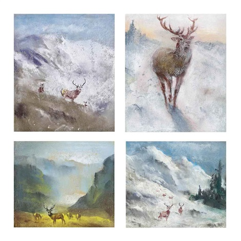 first snow sutherland mid winter sutherland first snow of winter and stags in a landscape 4 works by raoul millais