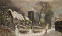 a village in winter by hebert newy