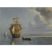 frigate on calm waters by ioannis (jean h.) altamura