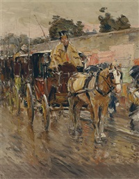 the old paris cab stand by childe hassam