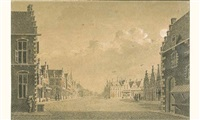 vue de ville hollandaise (+ another similar; pair) by theodor (dirk) verryck