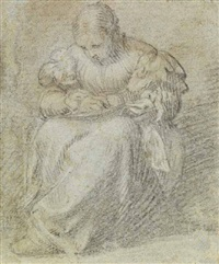 donna che cuce by romanino (girolamo romani)
