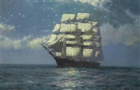 a clipper ship in a moonlit sea by montague dawson