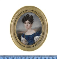 a lady, wearing blue dress with short white puff sleeves and white under-dress with sheer long puff sleeves and lace trim to her décolleté, a long gold ribbon with blue borders suspended from her neck by charles claude noisot