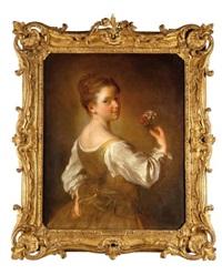 portrait de jeune fille avec des fleurs by alexis grimou
