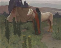 evening scene with white horse by eanger irving couse