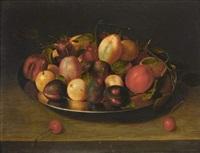 coupe de prunes et cerises sur un entablement by jacob van hulsdonck