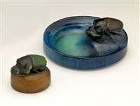 a french pate-de-verre vide-poche molded with scarab beetle, for almeric walter (set of 2) by henri bergé