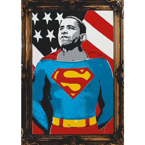 obama superman gold edition by mr brainwash