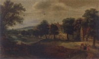 abraham meeting the angels by a village, an extensive landscape beyond by jacques backereel