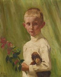 portrait of a boy with a flowering branch and a monkey by arthur kampf