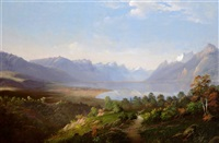 blick über den genfer see auf genf by ludwig eduard boll