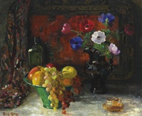 still life with bowl of fruit and anemones by mary gray