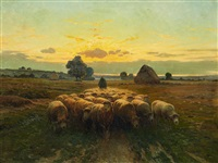 a herd of sheep at sunset by alexis jean fournier