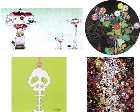 hypha will cover the world little by little we should kansei skulls lime green time i do not rule my dreams my dreams rule me set of 4 by takashi murakami