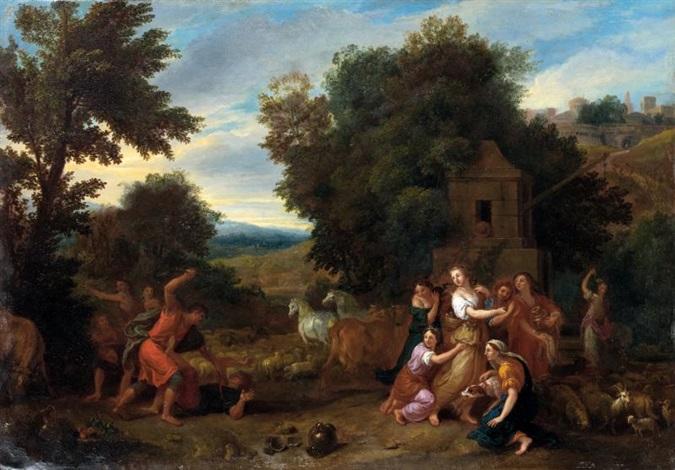 moïse et les filles de jethro by charles le brun