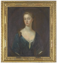 portrait of a lady (mary magdalen myre?) in a blue dress by charles d' agar