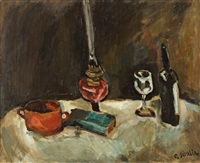 nature morte au verre de vin et à la lampe à huile by chaïm soutine