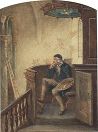 konstnären pehr höhrberg med palett i predikstolen i virestad kyrka by bengt nordenberg
