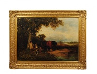 travelers at rest with horses and dog by james peel