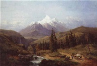 travellers on a track in an alpine valley with mountains beyond by henri baumgartner