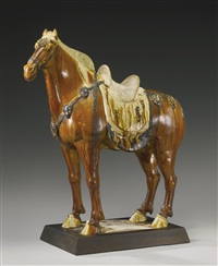 caparisoned horse by anonymous-chinese (tang dynasty)