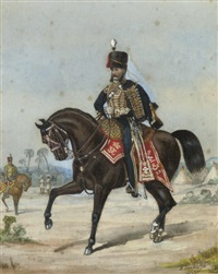 portrait of an officer of the 3rd hussars (+ portrait of an officer of the 10th royal hussars in india; pair) by richard simkin