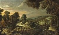 an extensive hilly landscape with farmsteads by kerstiaen de keuninck