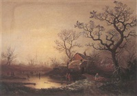 winter scene with figures skating on a lake by samuel smith