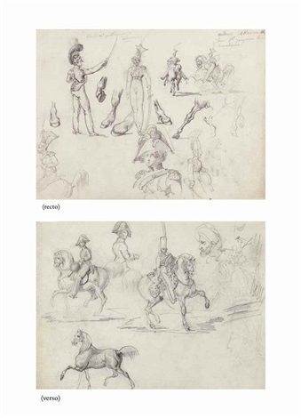 studies of officers and cavaliers (recto), studies of officers, cavaliers and two turbaned men, a portrait of napoleon in profile (verso) by théodore géricault