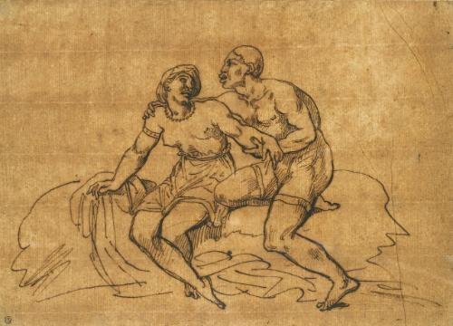 couple de noirs assis sur un rocher by théodore géricault
