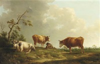 a pastoral landscape with cattle and a herdsman by henri-joseph antonissen
