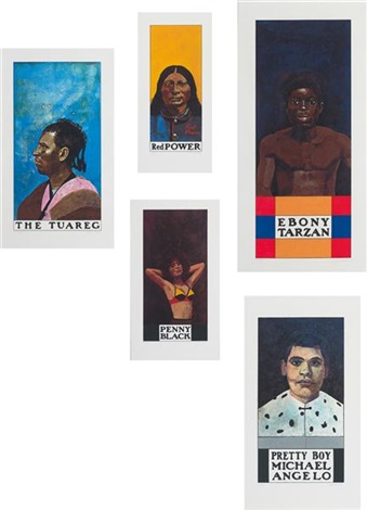 wrestlers ebony tarzan the tuareg red power penny black and pretty boy michelangelo set of 5 by peter blake