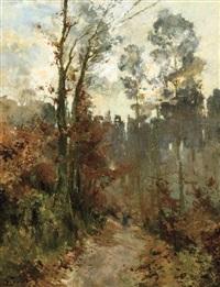 vue de forêt avec ramasseur de bois mort by guillaume vogels
