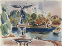 fountain, central park by harry glassgold