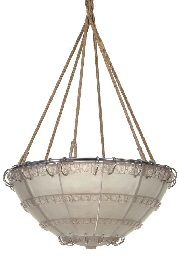 bandes de roses' a frosted glass chandelier, model introduced 1924 by rené lalique