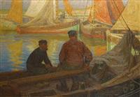 vissers in de haven van oostende by edgard farasyn