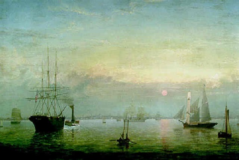 boston harbor at sunset by fitz henry lane